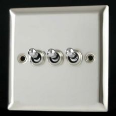 Varilight 3 Gang 10A 1 or 2 Way Dolly Toggle Light Switch Mirror Chrome Finish XCT3